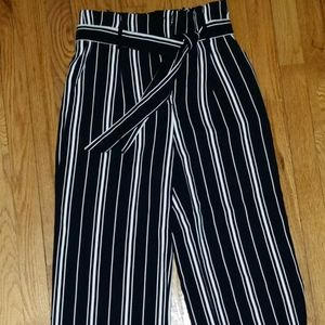 H&M Striped Wide Leg Dress Pants